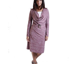 Classic Breastfeeding Dress| Cowl Neck Nursing Dress| Long Sleeve Nursing Dress | Purple Nursing Dress | Nursing Clothes | Gift For New Mom