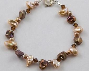 Fresh water pearl, swarovski crystal bracelet