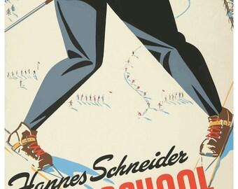 Vintage Ski School Skiing Travel Poster Print