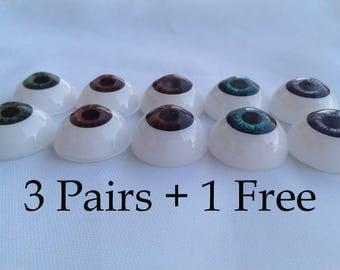 """6 Reborn eyes 24 mm  15/16""""  - 3 Pairs + 1 Pair FREE - eyes dolls, bjd eyes, craft eyes, eye for, eyes of"""