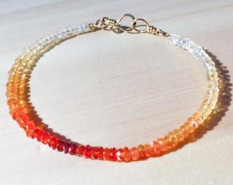 Ombre Bracelet, Mexican Fire Opal Bracelet, Gemstone Bracelet, Stacking Bracelet, Stackable Bracelet, Minimalist Bracelet, Rainbow Bracelet