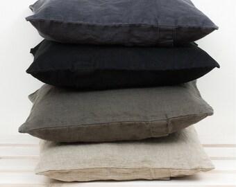 Linen DECORATIVE PILLOW CASE - Linen Cushion Covers - Linen Home Decor - Natural Flax - Dark Gray - Wedding gift