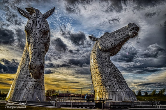 Kelpies Digital Download, Photographic print, Scotland, Falkirk, Homedecor, landmark photography, scottish photography, fine art photography