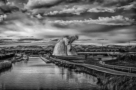 The Kelpies, Photographic print, Scotland, Falkirk, Home & decor, Wall Art, landmark photography, scottish photography, fine art photography
