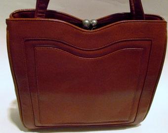 Francois California Leather Handbag, 60's Style Purse, Vtg Brown Leather Handbag, Mad Men Handbag,