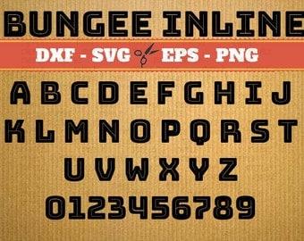 Bungee Inline Script Monogram Svg Font; Svg, Dxf, Eps, Png; Digital Monogram, Calligraphy Script, Cursive Svg Font, Cricut, Cut File
