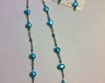 Spring Rain pearl necklace and pierced earrings set