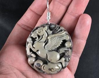 Flying Horse, Pegasus, Pendant Carved Ribbon Jasper Stone