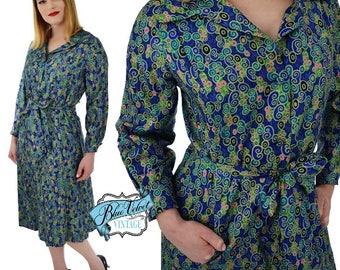 60s Vera Maxwell Mod Print Silk Dress-1960s Designer Dress-Chic Button Front Shift Dress-Long Sleeve-Office-Cocktail-L-Large