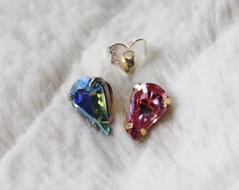 Swarovski Crystal Earrings - Tear Drop Crystal Studs / silver & gold