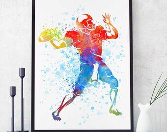 Football Print, Football Nursery Decor, Watercolor Print, Sports Decor, Football Mom, Room Decor, Gift For Him (N023)