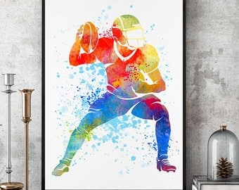 Football Print, NFL Watercolor Prints, Football Wall Art, Sports Wall Decor, Football Mom, Birthday Gift (N060)