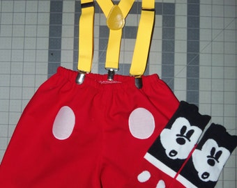 4pc Mickey Mouse Bow/Shorts/Suspenders/socks    2, 3 and 4T  Toddler    Ready to ship