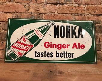 Vintage NORKA Ginger Ale 'Tastes Better' Soda Pop Metal Sign Rustic Decor Akron, OH