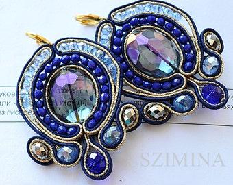 Сутажные серьги  Фиолетовые Сваровски кристаллы Танзанит Soutache jewelry soutache earrings Violet earrings