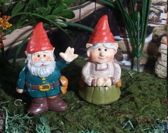 Fairy Garden Miniature Garden Gnomes for your Fairy Garden, Ma & Pa Gnomes, Miniature Gnomes, Gnome Couple, Wedding/Anniversary Cake Toppers
