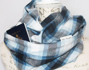 Secret Pocket Scarf / Blue and White Traditional Plaid / Flannel Infinity Scarf with Hidden Pocket / Travel Scarf / Unisex Scarf