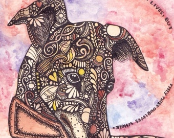 Fine Art Intricate Detailed Greyhound Dog Painting // GREETINGS CARD