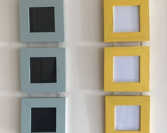Light Green, Yellow, Orange, Purple, Teal Tri Picture Frame Wall Hanging Home decor