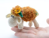 Small sheep, Easter decor, crochet sheep toy, collectibles sheep, stuffed sheep, amigurumi animal, shower gift, brown sheep with flower