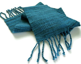 hand spun wool scarf, blue scarf, hand woven scarf, merino hand spun, hand dyed winter scarf, handspun and handwoven by SpunWool
