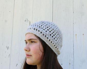 Angora Beanie - 100% Angora Hat - Crocheted Angora Hat - Handspun Yarn Hat - Handspun Angora - Crochet Angora Beanie - English Angora Wool
