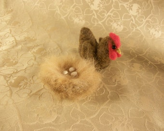 Needle Felted Hen, Felted Chicken, Felted Chicken On Nest