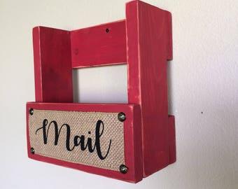 Mail holder,  Barn red mail organizer, Mail sorter, Letter holder, Farmhouse mail holder, Rustic mail holder