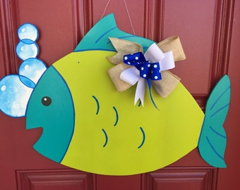 Fish door hanger, fish and bubbles door hanger, ocean door hanger, custom door hanger