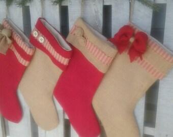 Single (1) Burlap Christmas Stocking- the Homespun Joy Collection, Personalized  Stocking, Rustic Christmas Decor, Homespun Christmas