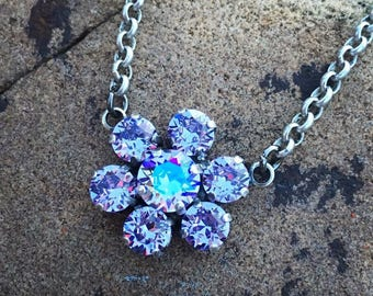 DAISY DANGLE Swarovski crystal 6mm/8mm necklace in antique silver - nickel free, comes in a variety of colors