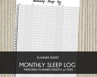 Printable planner insert Monthly Sleep Log tracker Plum Paper instant download for use with erin condren life planner bullet journal