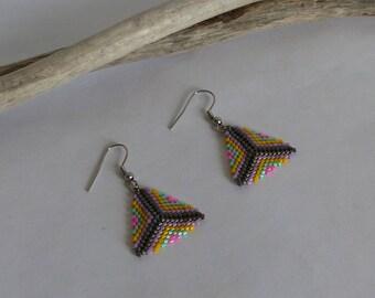 Earrings, beads, miyuki, woven, multicolored jewelry, triangle, modern