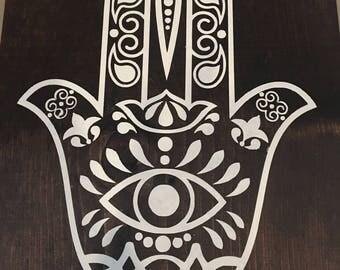 Wood Hand-painted Hamsa Sign
