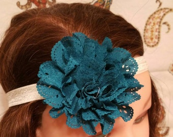 Eyelet Lace Flower - Teal - Headband