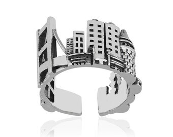 Silver Silhouette Istanbul Ring, Istanbul Facade Ring, Istanbul City Ring