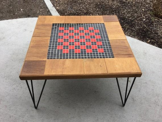 Adorable Tile Top Hairpin Leg Side Table  Mid Century Eames Era