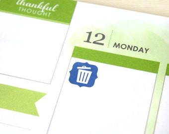 Trash Day Planner stickers - 48 mini cute trashcan reminder decals, assorted colors for Erin ...