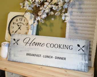 Kitchen Sign - Home Cooking - Breakfast - lunch - dinner, home decor gift, rustic sign, pallet sign, farmhouse decor