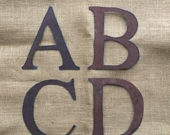 "6"" rusty flat letters, new times Roman font letters, tin letters, rusty tin letters, handcut letters, rustic tin letters, metal letters"