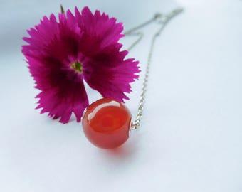 Orange Bead Pendant Necklace, Orange and Silver Carnelian Necklace, Deep Orange Pendant, Floating Orange Necklace, Burnt Orange