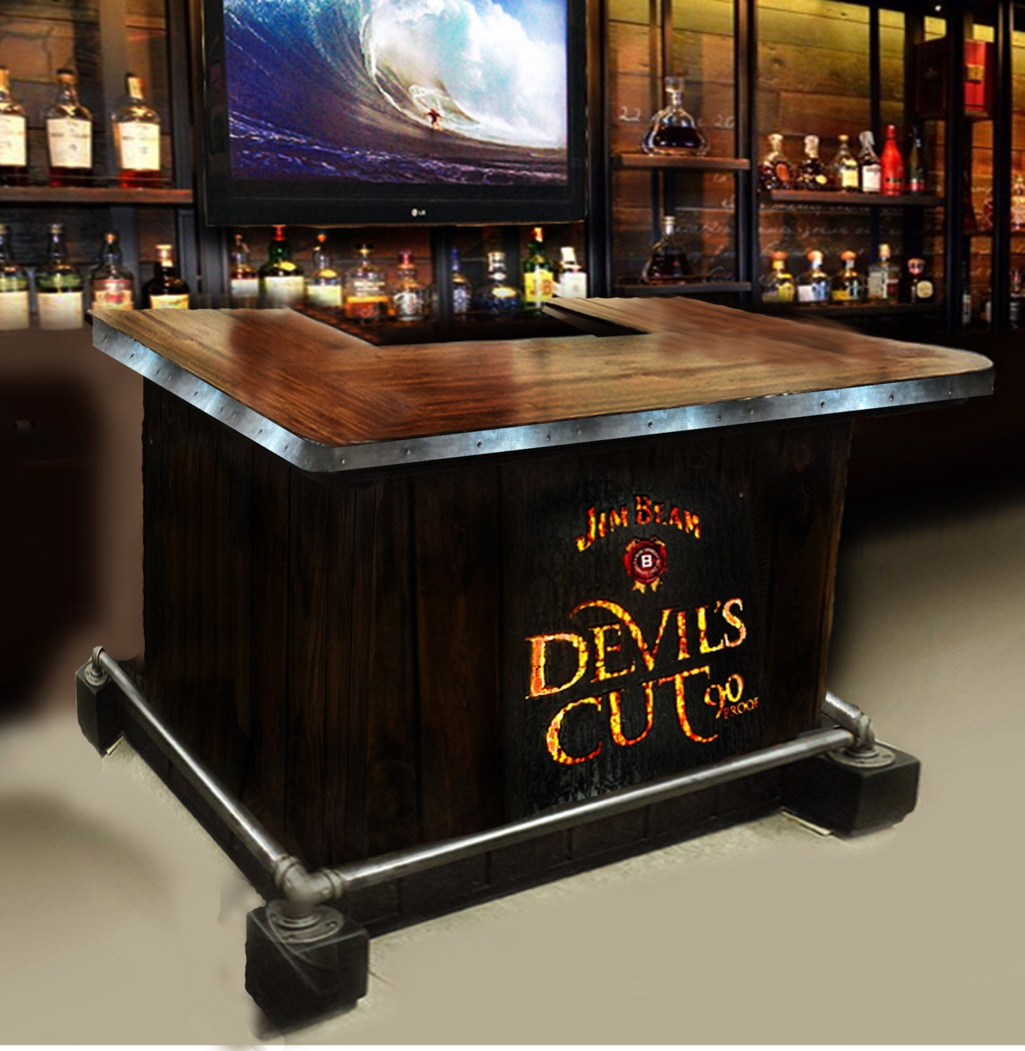 Custom home bar hand built rustic whiskey pub man cave for Man cave desk