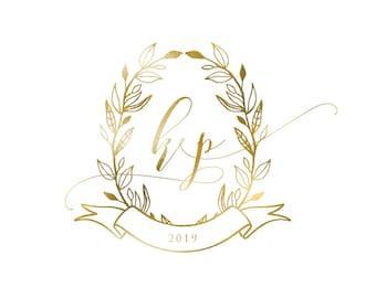 Wedding Monogram, Wedding Logo, DIY wedding, wedding initials, printable wedding, wreath monogram, leaves monogram, gold logo - Dix