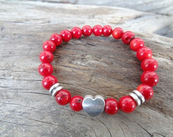 EXPRESS SHIPPING,Red Coral Bracelet, Unisex Heart Bracelet, Stone Jewelry, Women's Jewelry,Beaded Bracelet, Gift for Her, Mother's Day Gift