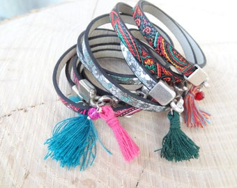 EXPRESS SHIPPING,Womens Wrap Leather Bracelet,Multi-Colored Leather Bracelet,Tassel Bracelet,Friendship Bracelet,Mother's Day Gifts