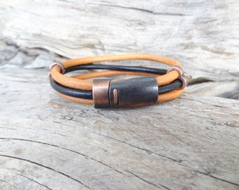 EXPRESS SHIPPING,Men's Black,Taba Leather Bracelet,Men's Jewelry,Copper Magnetic Clasp Bracelet,Men's Cuff Bracelet,Father's Day Gifts