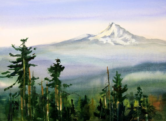 Mt. Hood 270 - signed print - Bonnie White - watercolor - painting - art