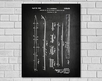 Ski Decor - Ski Sign - Ski Art - Ski Wall Art - Ski Poster - Ski Patent Print - Ski Print - Winter Sports - Ski Blueprint - Ski Gifts- SS530
