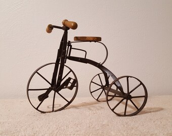 Metal Tricycle with Wood Handles and Seat