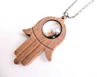 Planet Pluto Hamsa God's Hand Custom Pendant Necklace